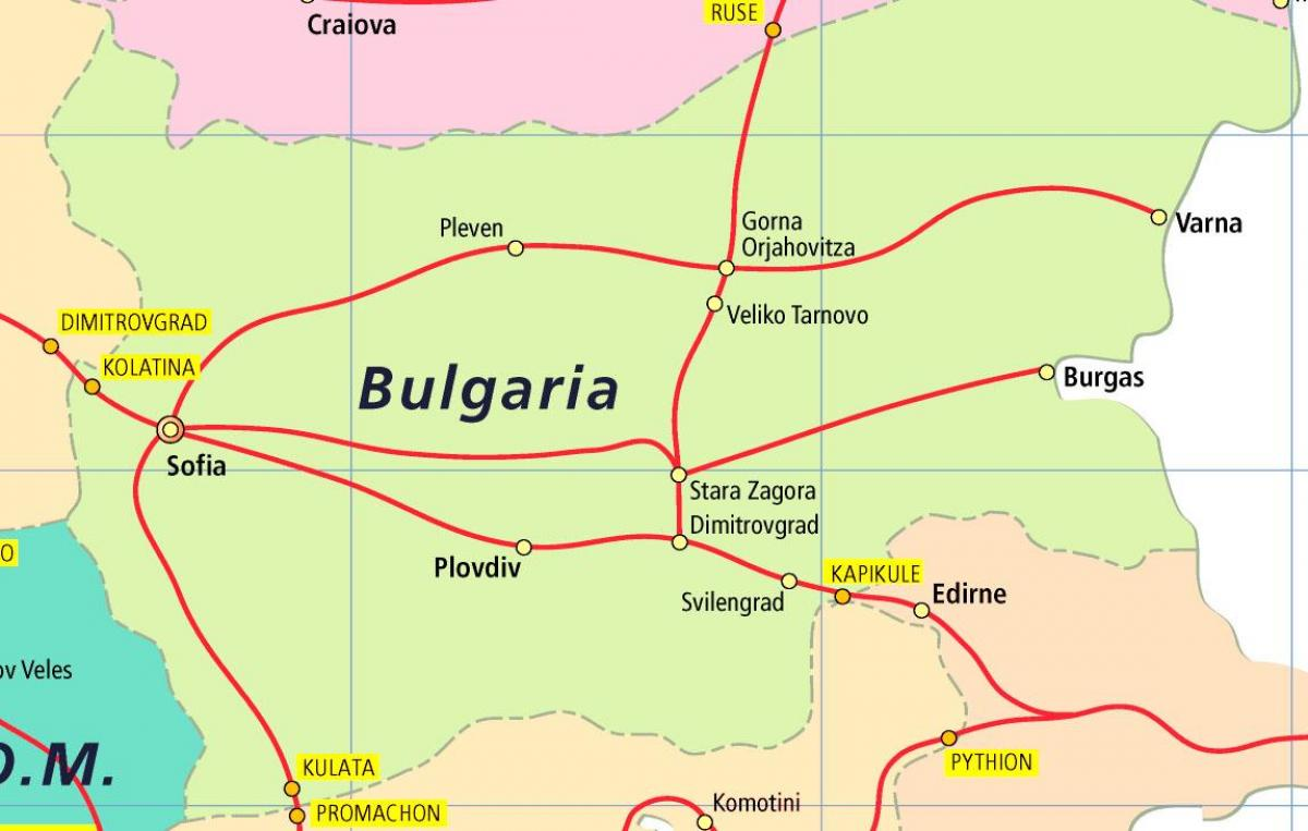 Bulgaria train map